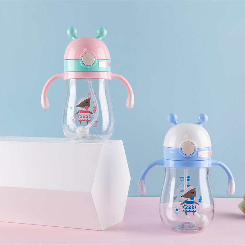 Cheng Bei Er Children Cup With Straw Baby Sippy Cup Infants Training Glass Tritan Cup With Straw 9076