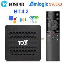 Caixa esperta da tevê 9 de tox1 android caixa 4gb 32gb amlogic s905x3 wifi duplo 1000m bt4.2 4k media player suporte dolby atmos áudio
