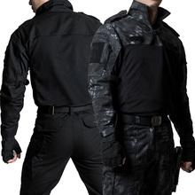 Mundur wojskowy taktyczne garnitury kamuflażowa odzież myśliwska Paintball Airsoft Sniper Combat ShirtPants łokieć ochraniacze na kolana tanie tanio CN (pochodzenie) Pełne COTTON SUSZENIE NA ZASILANIE Odporna na mechacenie Koszule Tactical Suits Camping i piesze wycieczki