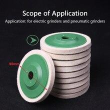 10Pcs 98mm Wool Polishing Wheel Buffing Pads Angle Grinder Wheel Felt Polishing Disc Polisher for Metal Ceramic Glass Marble