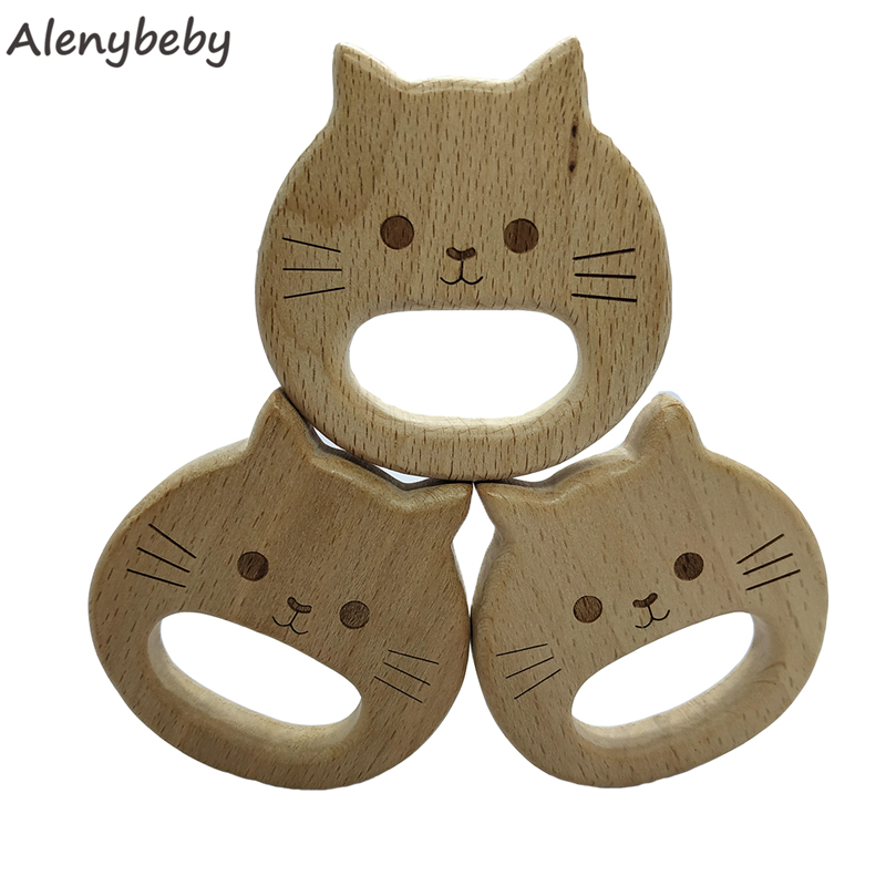 Wooden Teether Rings Natural Wood Teething Cat For Infant,Wooden Teether Animal For Toddler,Baby Soothing Pain Relief Toys