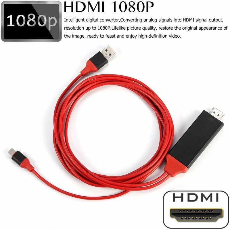 Cabo conversor digital, 8 pinos para hdmi, hdtv tv, adaptador av 2 m, usb hdmi 1080 p, cabo conversor inteligente para apple tv para iphone hd conecte e jogue