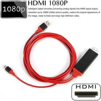 цена на 8 Pin to HDMI Cable HDTV TV Digital AV Adapter 2M USB HDMI 1080P Smart Converter Cable for Apple TV for IPhone HD Plug and Play