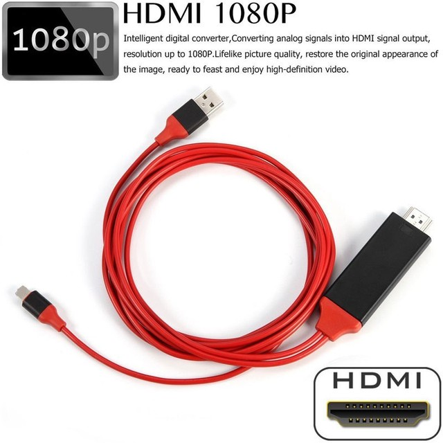 Cable de 8 pines a HDMI HDTV TV adaptador de AV Digital USB de 2M HDMI 1080P inteligente convertidor de Cable para Apple TV para IPhone HD Plug and Play