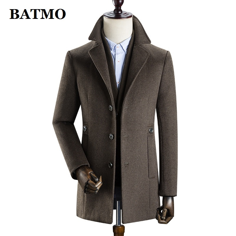 BATMO 2020 new arrival winter high quality wool thicked trench coat men,men's wool thicked jackets ,k627