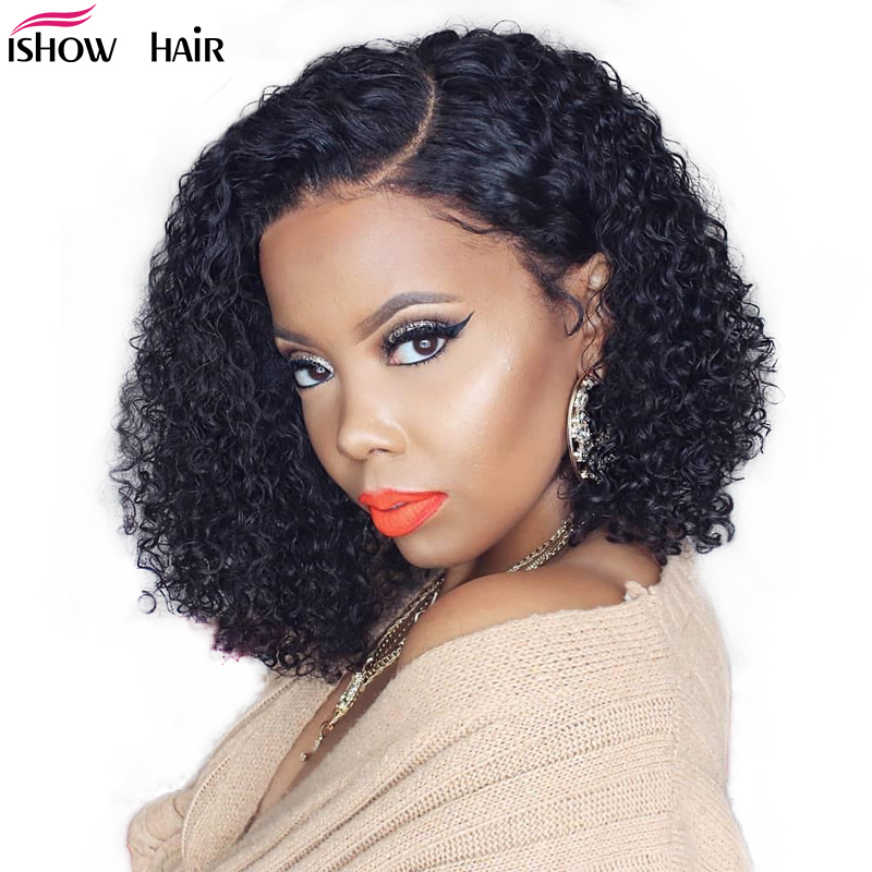 Ishow Curly Human Hair Wig 13X4 Lace Front Human Hair Wigs Remy 150 Density Brazilian Deep Curly Lace Front Wig Remy Lace Wig