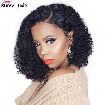 Ishow Curly Human Hair Wig 13X4 Lace Front Human Hair Wigs Remy 150 Density Brazilian Deep Curly Lace Front Wig Remy Lace Wig - DISCOUNT ITEM  50% OFF All Category