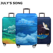 JULY'S SONG Trolley Luggage Protctive Covers Travel Suitcase Case Elastic Suitcase Protective Covers For 18-32 Inch Luggage Case(China)