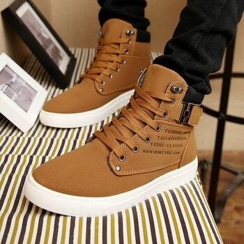 Мужские кроссовки с высоким берцем, повседневные теплые ботинки из матовой кожи в стиле ретро, большой размер 47, tyh6, Осень-зима