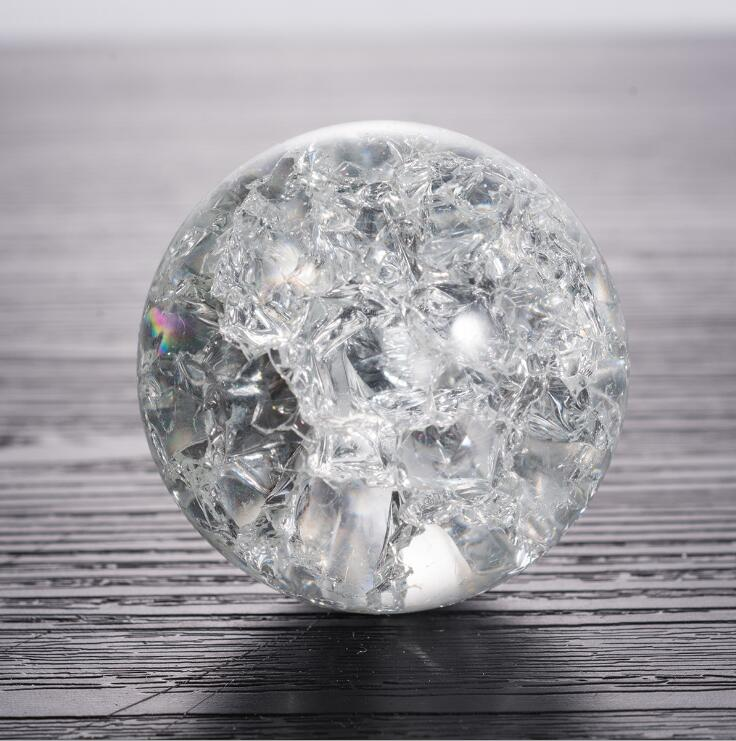 Crystal Glass Ice Crack Ball Quartz Marbles Magic Sphere Fengshui Ornaments Rocky Water Fountain Bonsai Ball Home Decoration