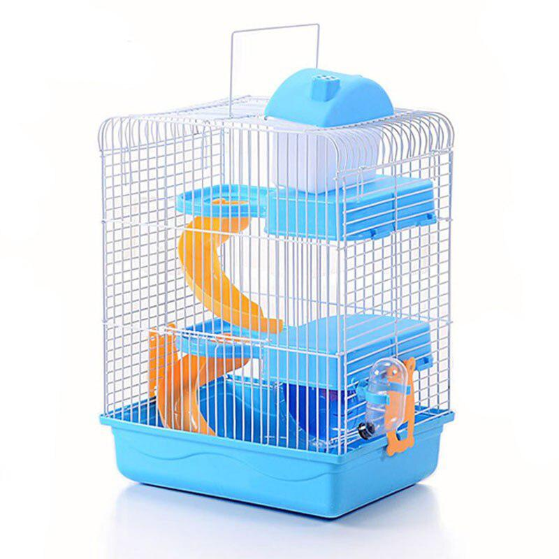 3 Layers Pet Hamster Cage Portable Luxury House For Mice Habitat Playing Home With Running Wheel Water Bottle