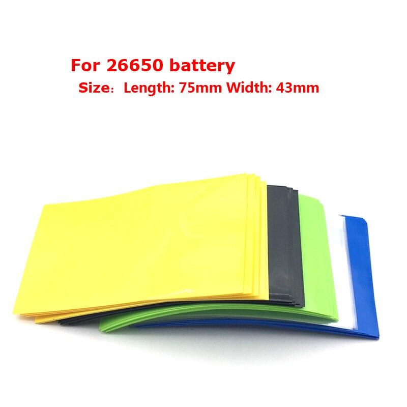 22pcs 26650 Shrink Wrap 75*43*0.08mm PVC Heat Shrink Sleeves 26650 Battery Wrap