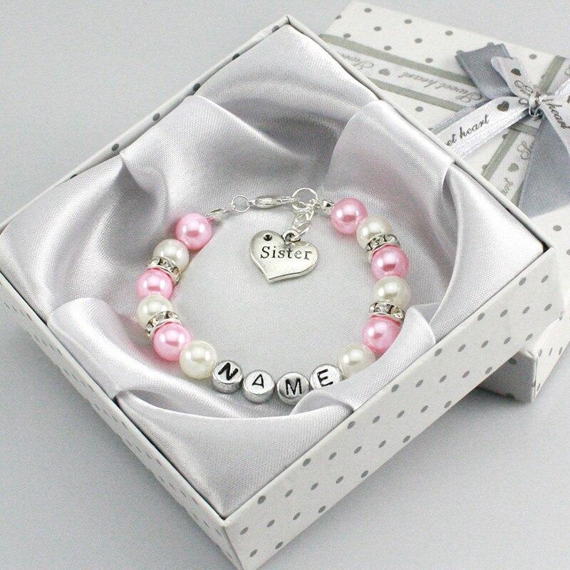 Ребенок имя Персонализированная девушка подарок на день рождения Шарм браслет Кот розовый и белый заказной Jewelr