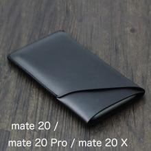 Dubbele laag Universele Filet holster Telefoon Rechte leather case retro eenvoudige stijl Voor Huawei mate 20 Pro mate 20 X pouch 20X