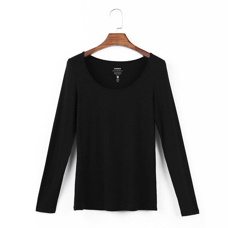 Femmes coton élastique basique T-shirts femmes décontracté hauts à manches longues Sexy mince T-shirt