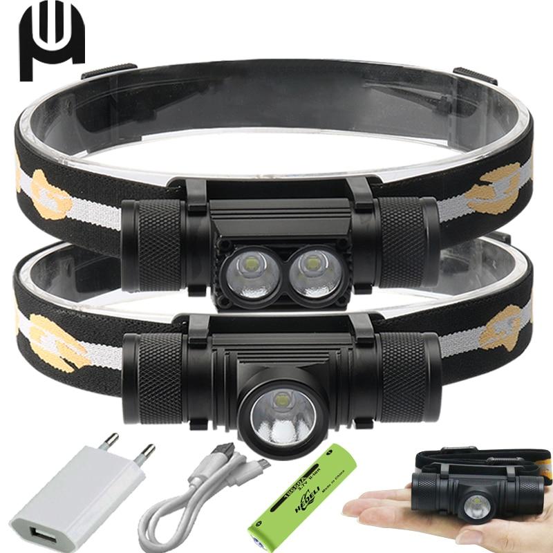 100000 Lm High Power Mini Led Headlamp XM L2 Usb Head Lamp 18650 Rechargeable Mini Headlight Head Torch 18650 Hunting Headlight