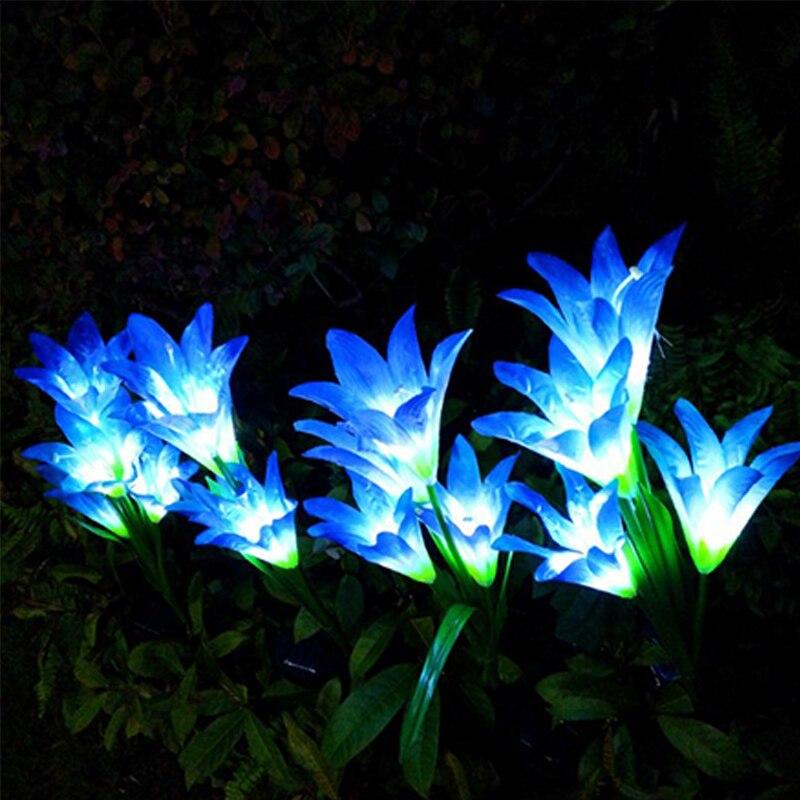 jardim lâmpada led solar colorido lírio flores