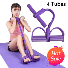 4 Tubes Resistance Bands Fitness Elastic Sit Up Pull Rope Exerciser Rower Belly Elastic Bands Home Gym Sports Training Equipment(China)