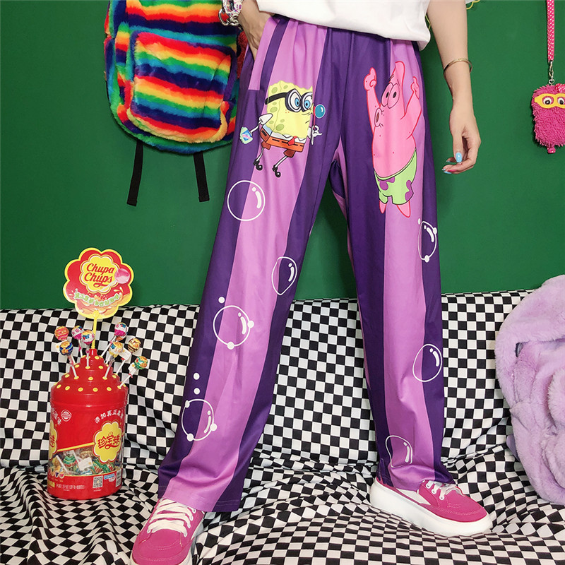 New Summer Pants Women Harajuku Cute Cartoon Pants Vintage Striped Pants Casual Trousers Cotton Elastic Waist Pants