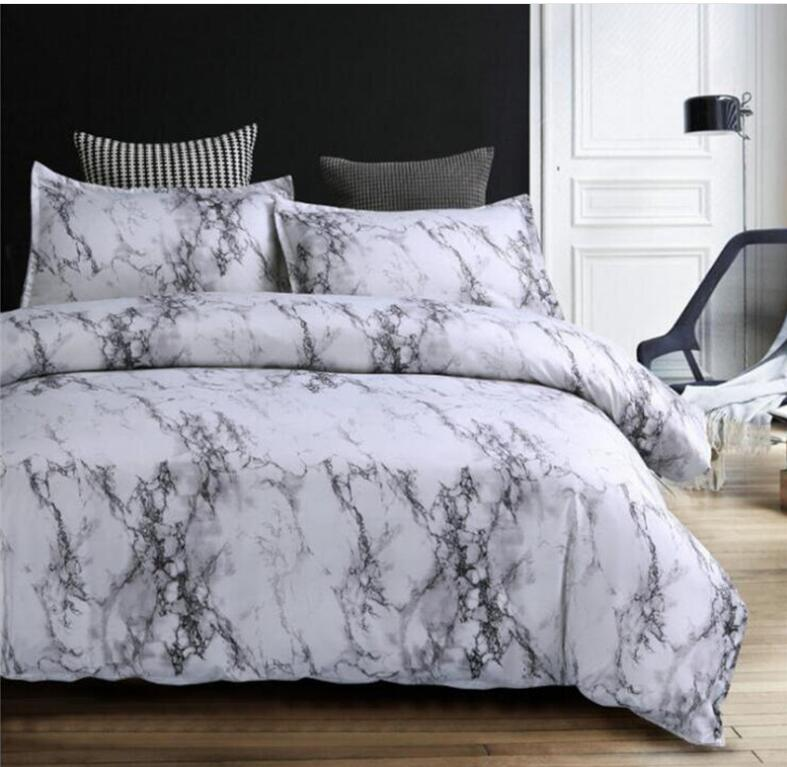 Grey Blue Purple Marble Printed Bedding Set Duvet Cover King Queen Twin Size California King  Quilt Cover Comforter Cover 2/3Pcs