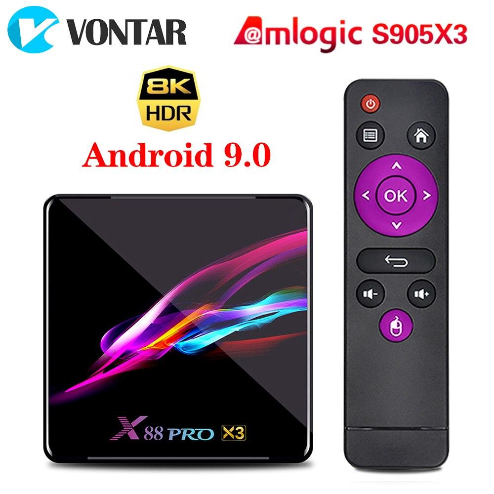 VONTAR X88 PRO X3 TV Box Android 9.0 4GB 128GB 32GB 64GB Amlogic S905X3 Quad-core 1080p  8K Wifi Youtube 2G 16G Set Top Box