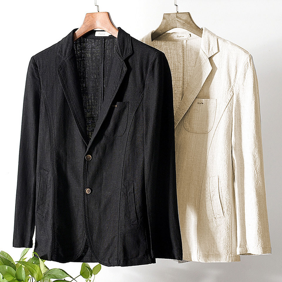 Hbc72ad49a2274a6885baa5f0ce583707g - 55% Linen 45% Cotton Breathable Anti-static Cool Man Suit Jacket Quality Casual Male Spring Autumn Single Breasted Men Blazer