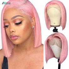 Allove-perruque Bob Lace Front Wig naturelle lisse, chevelure ombrée, rose, vert gingembre, 13x4x1, péruvienne, 613