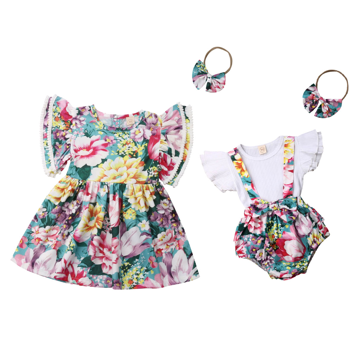 New Family Pair Sisters Clothes Sweet Cute Floral Princess Dress Sling Dress + T-Shirt Top Cute Baby Clothes Set