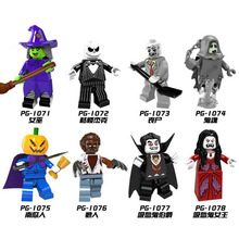 купить PG8080 Single Sale Halloween The Horror Theme Movie Vampire Count Zombie Queen Akasha Jack Skellington Building Blocks Kids Toys по цене 61.87 рублей