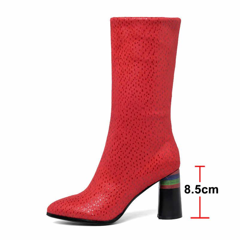 ANNYMOLI hiver mi-mollet bottes femmes Slim Stretch talon rond élastique bottes luxe extrême haut talon chaussures femme automne rouge 34-40