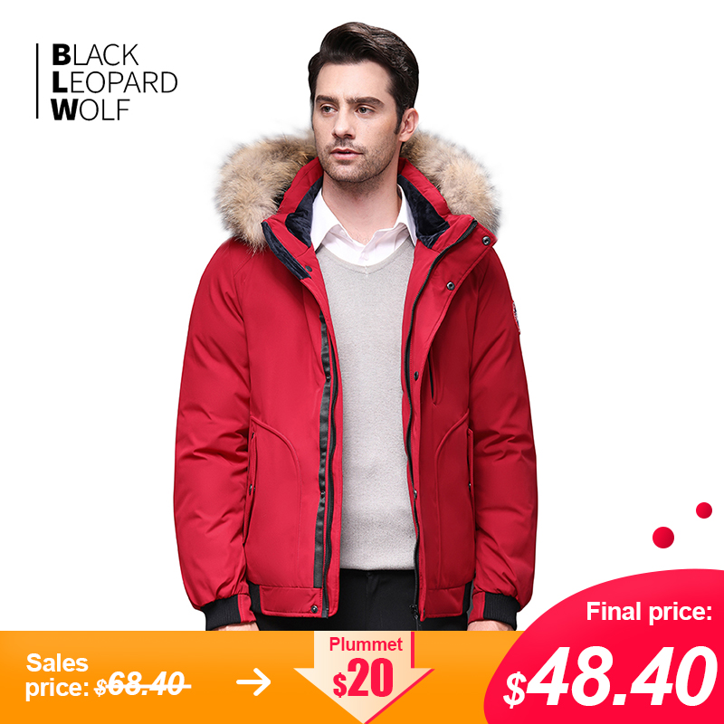 Blackleopardwolf 2019 Winter Jacket Men Coat Luxury Alaska With A Fur Collar Detachable Thick Winter Jacket Top Red Color BL-819