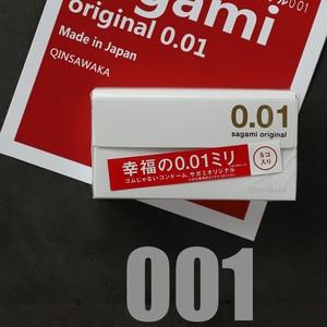 MADE IN JAPAN 5pc 0.01mm super slim ultra thin like not wearing happiness 001 Condom men SAGAMI ORIGINAL NO LATEX Polyurethan