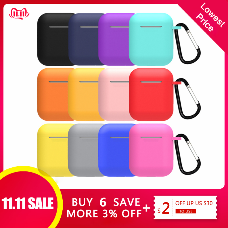 Mini funda de silicona suave para Apple Airpods funda a prueba de golpes para Apple auriculares Airpods fundas para Air Pods funda protectora