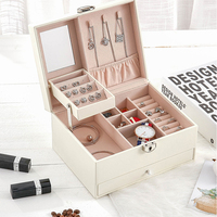 Multilayer Leather Portable Earrings Ring Stud Jewelry Storage Display Case Box Jewel Packaging Gift Display for Women