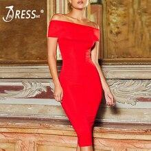INDRESSME Бандажное платье с открытыми плечами и разрезом модное для женщин Платья для вечеринок