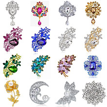Grande Vendita! 1pcs Casuale Inviato come l'immagine! Hot New Donne Grande Corona di Fiori Da Sposa di Cristallo Spilla di Strass Spille di Fascino Dei Monili(China)