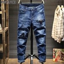 POVOTE jeans men's hip hop trend pants slim pencil locomotive cartoon embroidery design