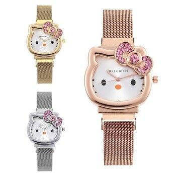 Novo ultra-fino crianças malha cinta relógio estudante crianças à prova dwaterproof água relógio kt gato relógio de quartzo para feminino relogio feminino presente 1