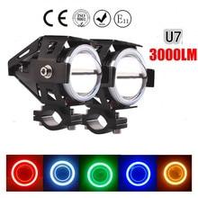 Projecteur LED pour antibrouillard de travail pour motos, phare étanche, bleu, 125W, DRL U5, U7 phare LED