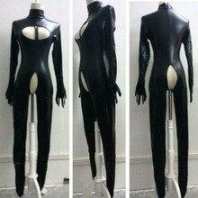 Сексуальное боди из искусственной кожи с вырезами, мокрое боди, бондаж, фетиш, комбинезон Zentai Footed, женский костюм