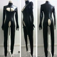 Faux Leather Sexy Bodysuit Crotchless Wet Look Catsuit Bondage Fetish Playsuit Zentai Footed Mistress Costume Plus Size