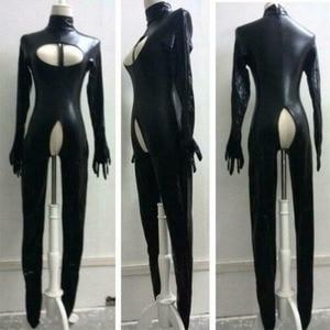 Image 1 - Suni deri seksi Bodysuit Crotchless islak bak Catsuit esaret fetiş tulum Zentai ayaklı metresi kostüm artı boyutu