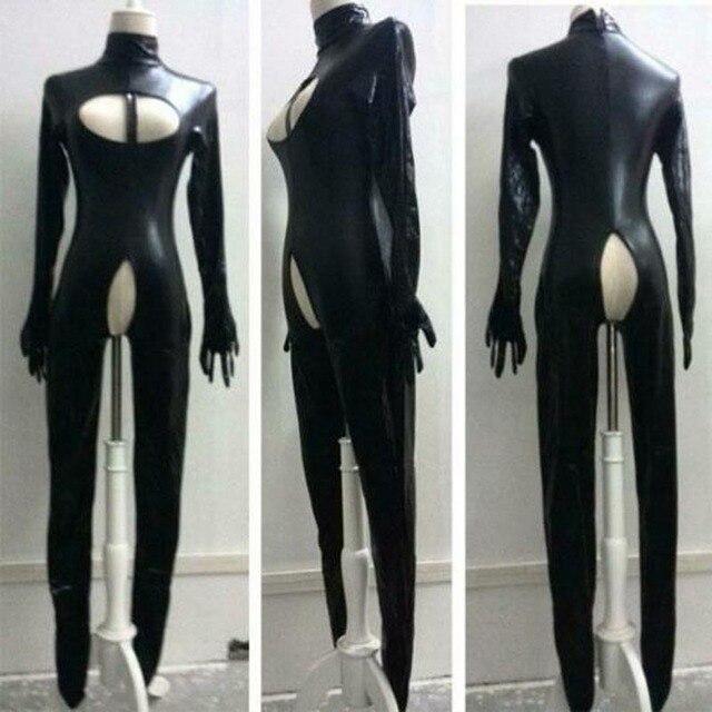 Suni deri seksi Bodysuit Crotchless islak bak Catsuit esaret fetiş tulum Zentai ayaklı metresi kostüm artı boyutu