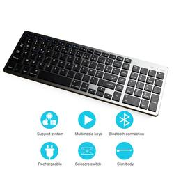 Zienstar AZERTY клавиатура с французскими буквами Bluetooth, перезаряжаемая Беспроводная с номером Pad, полноразмерная для ноутбука, планшета, Windows,IOS