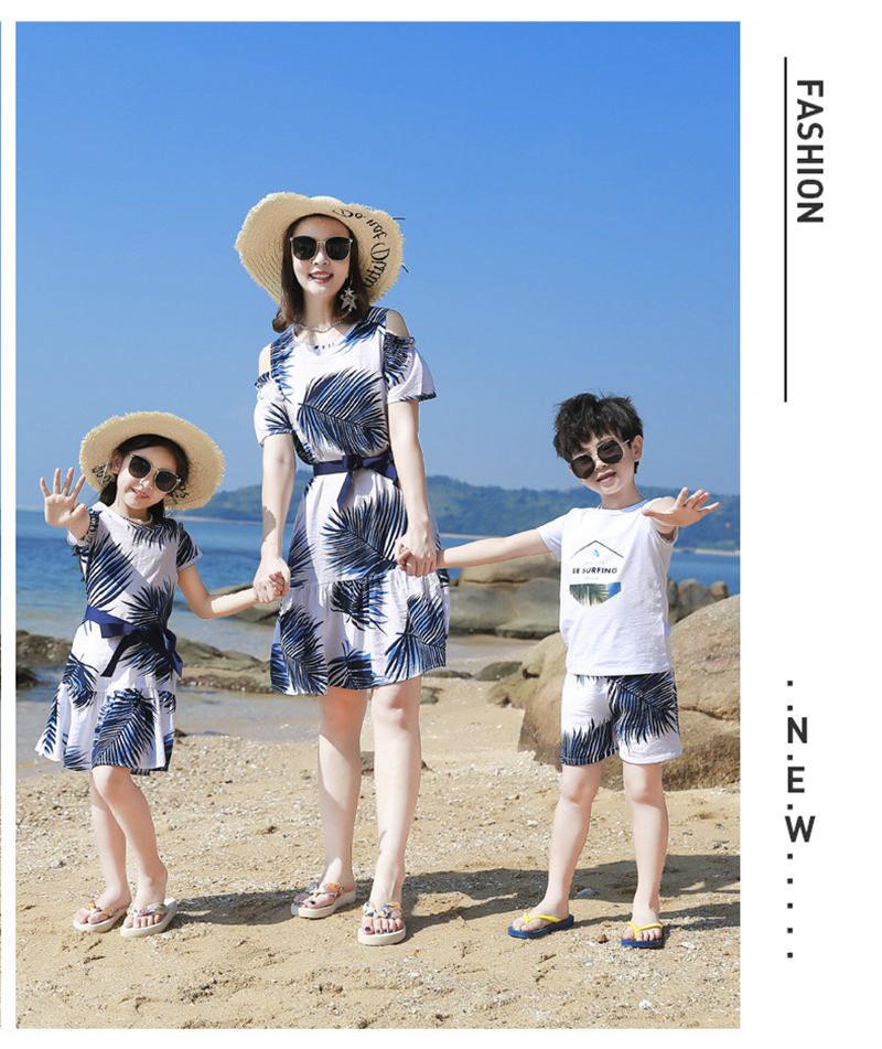 Hbc7410b9ec4b4c40a5cff0acdad9e9d7V - Summer Family Matching Outfits Mother Daughter Beach Vocation Dresses Summer Dad Son T-shirt+Shorts Couples Matching Clothing