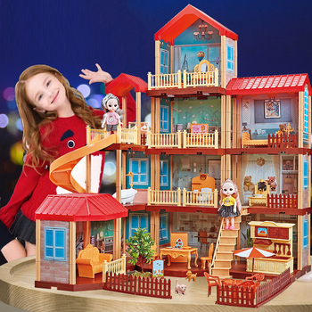 QWZ New DIY Princess Doll House Big Size Pretend Toys Pink Handmade Construction Castle Dollhouse Suit Christmas Gifts for Girls let s pretend sticker activity my princess castle