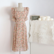 RUGOD 2020 New Arrivals Temperament Summer Dress Female Floral Print Square Collar Chic Slim Waist M