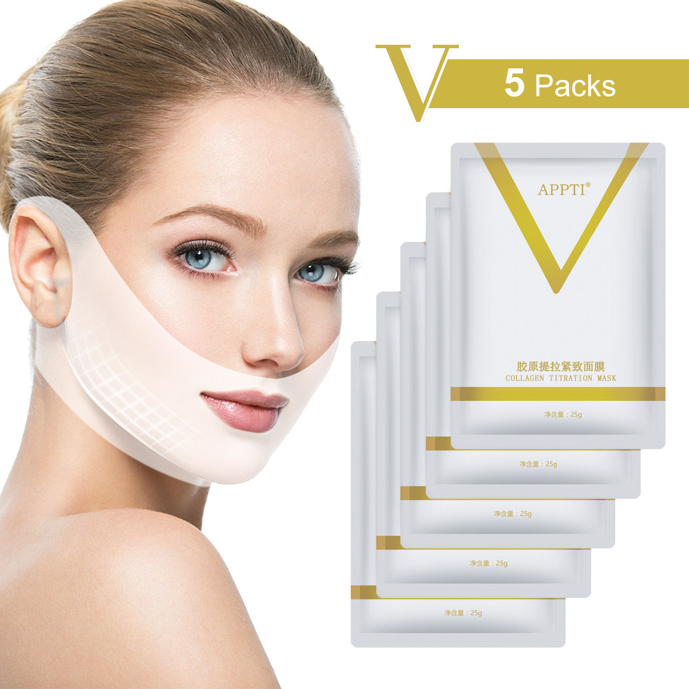 5pcs/Set 4D V Shape Mask Chin Face Lifting Slimmer Sheet Sleep Mask Hydrating Moisturizing Restore Collagen Skin Care