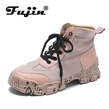 fujin High top platform shoes Outdoor Lace upWoman Fashion Sneaker Vulcanized Shoes Zapatillas Mujer 2019 Women Sneakers(China)