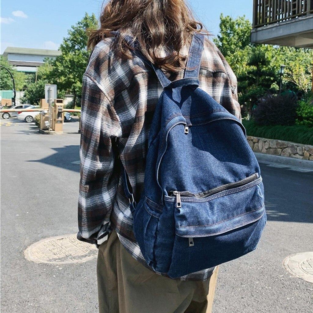 Новейший рюкзак для женщин, мода 2020, простой стиль, многофункциональный, большой объем, Джинсовый Рюкзак для девочек, mochila hot Рюкзаки      АлиЭкспресс